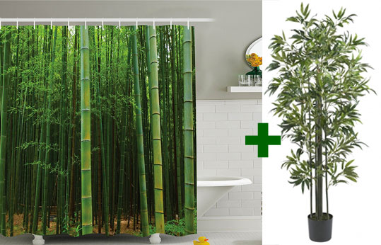 Bamboo Tree Shower Curtain With Artificial Bamboo Tree Turns Bathroom Into  Relaxing Tropical Jungle