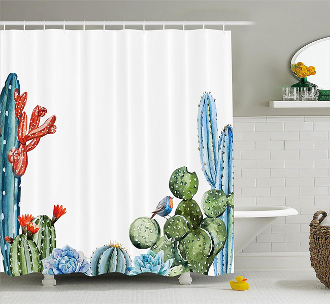 Polyester Cactus Shower Curtain