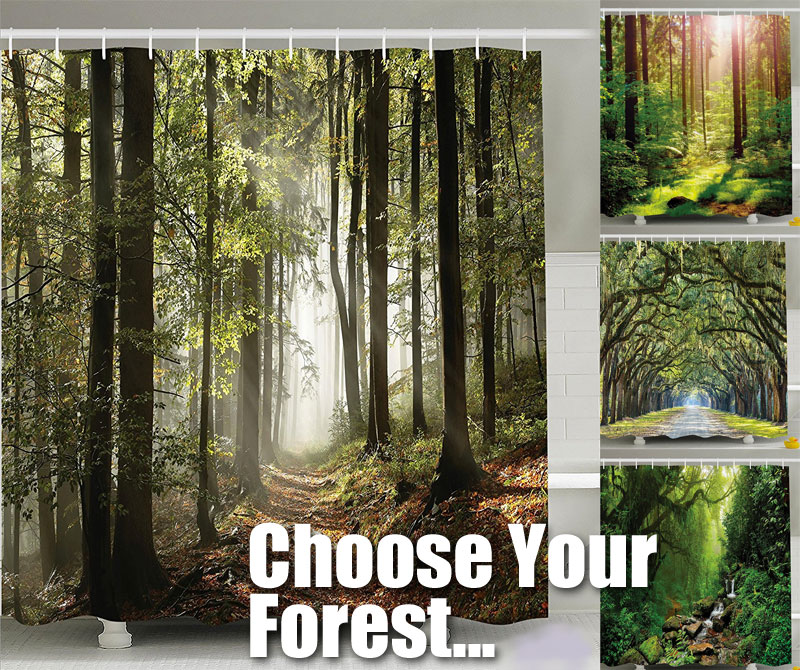 Choose Your Favorite Forest Shower Curtain With Creek Sunlight Trees Path