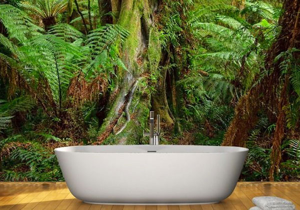Genial Jungle Bathroom: Wall Mural Behind Bath Tub