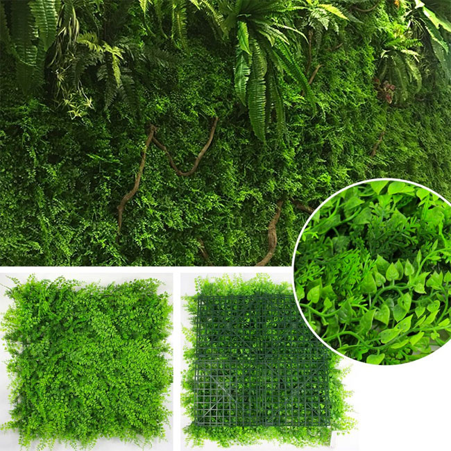 Living Wall Panel Kit With Fern And Boxwood To Create A Faux Vertical Garden Artificial