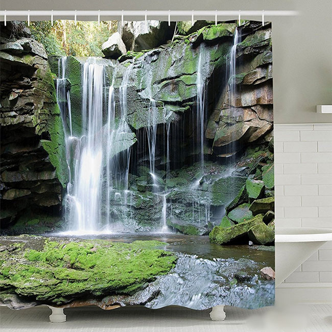3D Waterfall Shower Curtain Around Clawfoot Tub In Bathroom